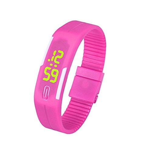 uhr sport Kolylong 1PC Unisex Gummi LED Sport Armbanduhr Hot Pink