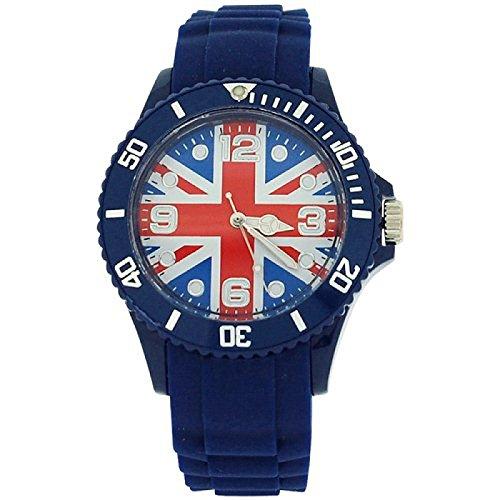 England Union Jack Unisex Quartz Mode Kautschukuhr blaues Armband UJ11C