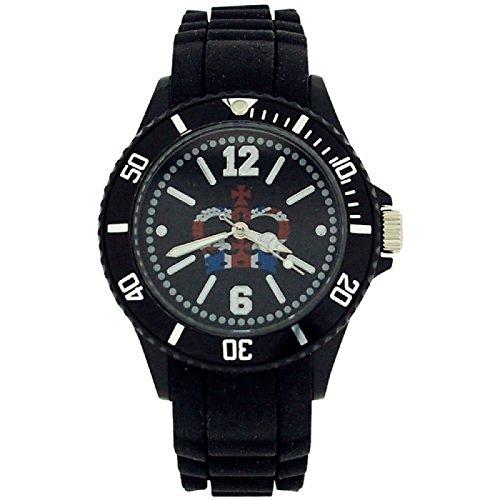England Union Jack Unisex Quartz Mode Kautschukuhr schw Armband UJ24B