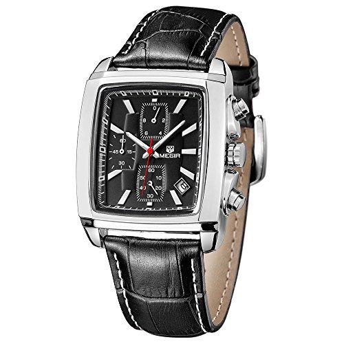 Megir Sport Chronograph Stoppuhr Analog Quarz Black Leder Armband Quadratisch Dial