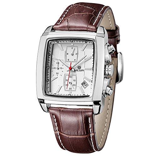 Megir Sport Chronograph Stoppuhr Analog Quarz Braun Leder Armband Quadratisch Dial