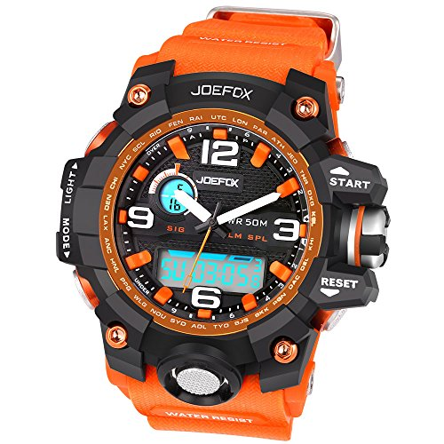 Joefox Herren Kinder Sport Armbanduhr Orange Harz Band LED Digital Quarz Kalender Alarm Chronograph 5ATM Wasserdicht NO 1523