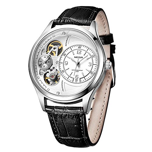 megir Quarz Uhren automatische Sekundenzeiger Running schwarz Lederband