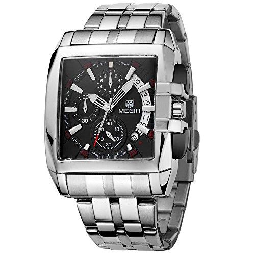 megir Herren Militaer Chronograph Edelstahl Quarz Handgelenk Uhren schwarz quadratisches Zifferblatt