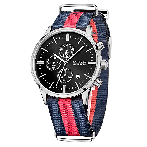 MEGIR Fashion Leinwand Quarz Schwarz Armbanduhr Chronograph