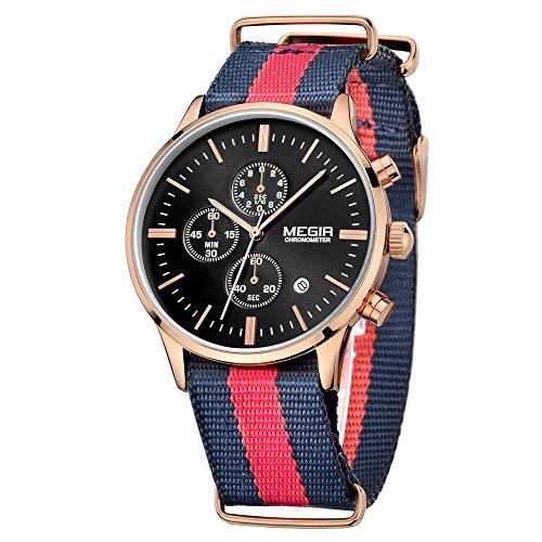 MEGIR Fashion Leinwand Quarz Schwarz Rose Gold Armbanduhr Chronograph