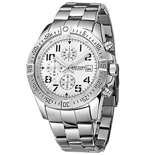 Megir Uhren Herren Fashion Silver Casual Band Chronograph Quarz Funktionen Armbanduhr