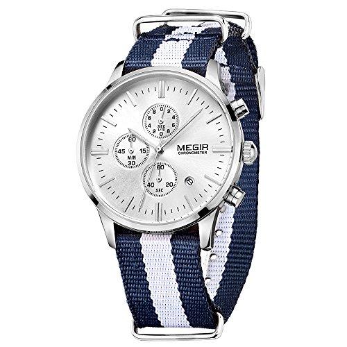 MEGIR Casual Leinwand Canvas Quarz analoge Uhr Armbanduhr Chronograph