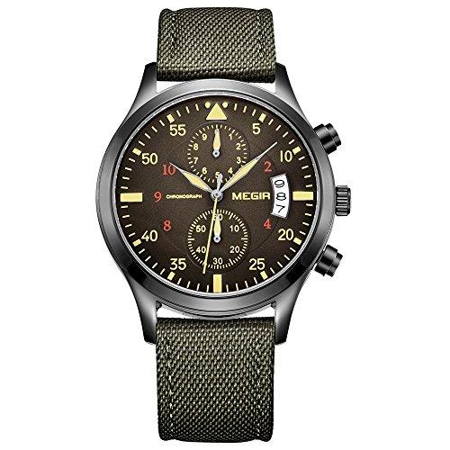 megir Herren Armee Uhren Casual gruen Nylon Strap Chronograph Datum