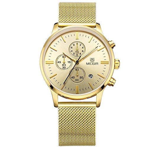 megir Herren Casual Uhren Gold Fall Edelstahl Band Chronograph mit Datum