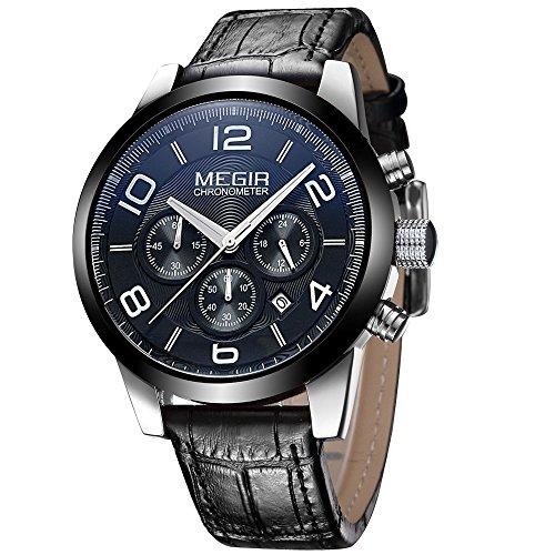 megir Herren Luxus Quarz Uhren schwarz Leder Trageriemen Chronograph Multifunktions