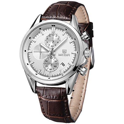 Megir Herren Quarzuhr Chronograph wasserdicht Casual Look Lederband in Braun