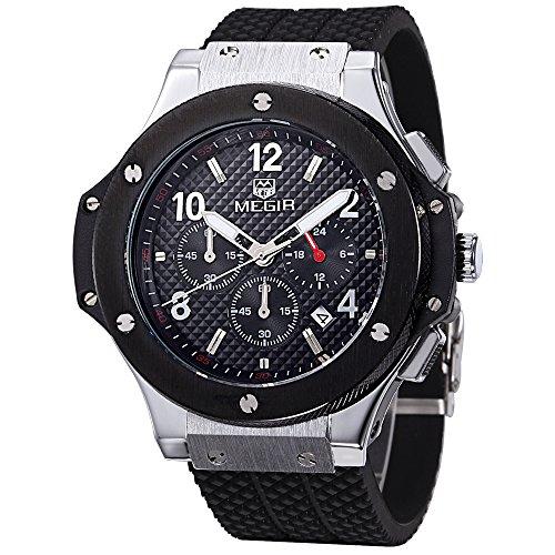 Megir Uhren Herren Sport Schwarz Silikon Band Armbanduhren Quarz Chronograph Funktionen