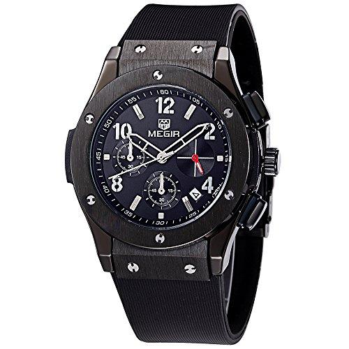 Megir Uhren Unisex Sport Schwarz All Black Silikon Band Armbanduhren Quarz Chronograph