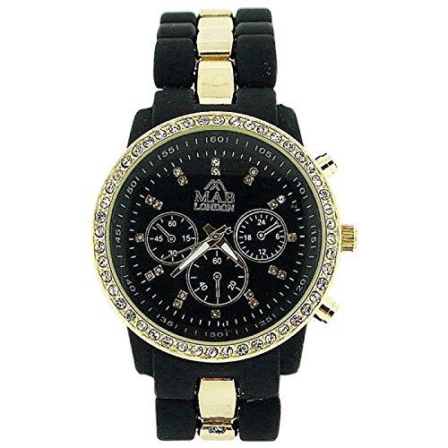 Mab London Damenuhr kristallbesetzt schw Zifferb schw gold Armband