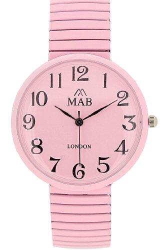 Mab London Uhr zartrosa leicht lesbares Ziffernblatt erweiterbares Unisex Armband