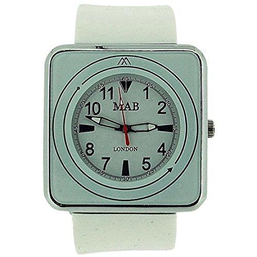 MAB LONDON Unisex Armbanduhr fuer Damen und Herren weisses quadratisches Ziffernblatt weisses Gummiarmband MRU1