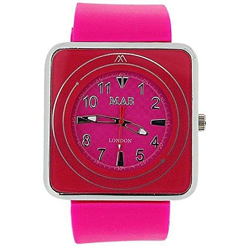 MAB LONDON Unisex Armbanduhr fuer Damen und Herren pinkfarbenes quadratisches Ziffernblatt pinkfarbenes Gummiarmband MRU1