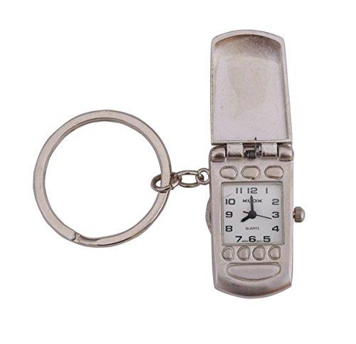 Klox Mobile Form Tasche Schluesselanhaenger Silber Analog Quarz japanisches Uhrwerk