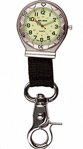 Klox Taschenuhr silberfarben leuchtend Canvas Armband mit Guertelclip fuer Krankenschwestern AErzte