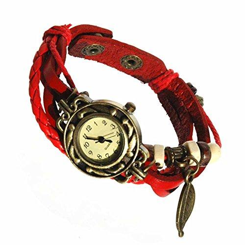 Armbanduhren Leder Modeschmuck Uhr Damen Thalie Rot Geschenk Damen