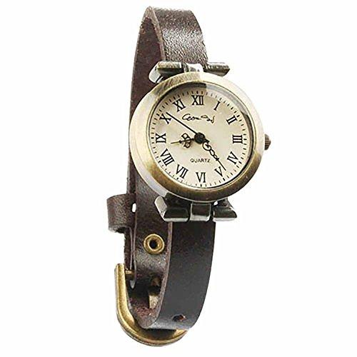 Armbanduhren Messing Modeschmuck Uhr Damen Leder runden roemischen Ziffern Mahe Braun Geschenk Damen
