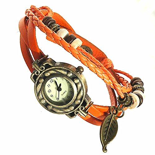 Armbanduhren Leder Modeschmuck Uhr Damen Thalie Orange Geschenk Damen