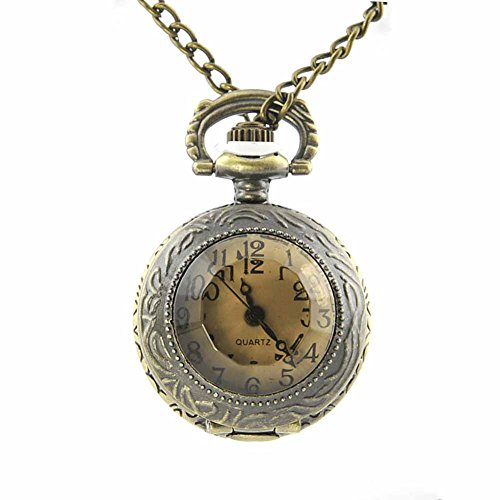 Taschenuhren Quarz Analog Messing Modeschmuck vintage gealtertem metallischem Medaillon Uhr Rund Arabisch Ziffern Braun Geschenk Damen Devon