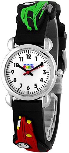 Orginelle analoge EVEREST Kids Car Armbanduhr fuer Jungen Farbe Auto schwarz