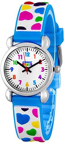 Zauberhafte EVEREST Kids Herzchen Armbanduhren fuer Maedchen Farbe Herzchen blau