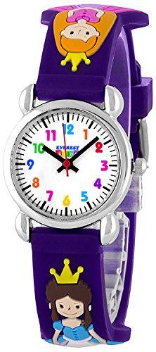 Zauberhafte Princess EVEREST Kids Armbanduhr mit 12 Stunden Ziffernblatt Farbe Prinzessin lila