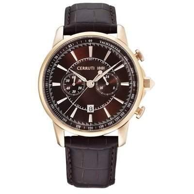 Cerruti Herren Armbanduhr Dunkelbraun CRA073C233H