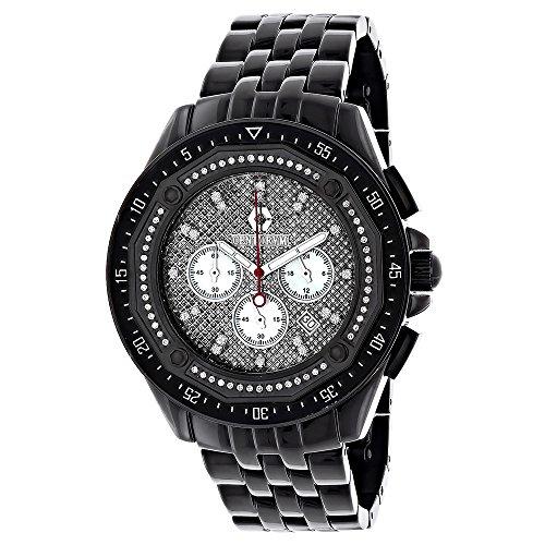 Mens Black Diamond Watch Chronograph 0 55ct Centorum