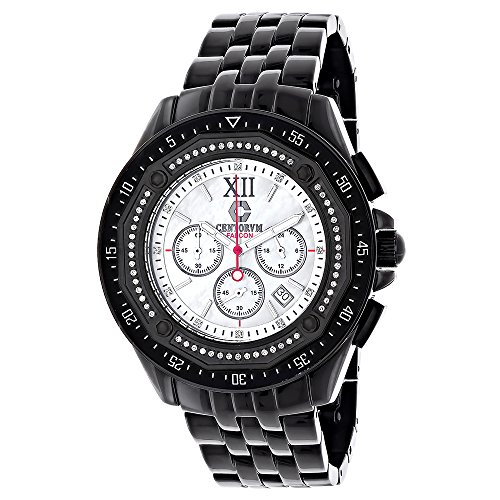 Centorum Mens Black Diamond Watch Chronograph 0 55ct