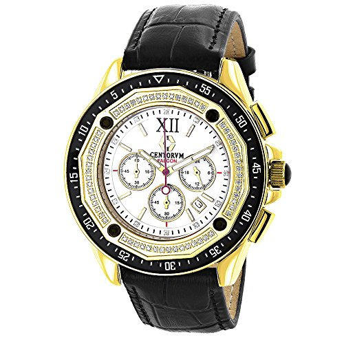 Centorum Mens Chronograph Diamond Watch 0 55ct Yellow Gold Plated Black Leather Band