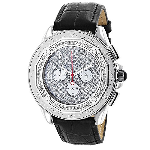 Iced Out Large Centorum Mens Chronograph Watch with Diamonds 0 55ct Leather Band