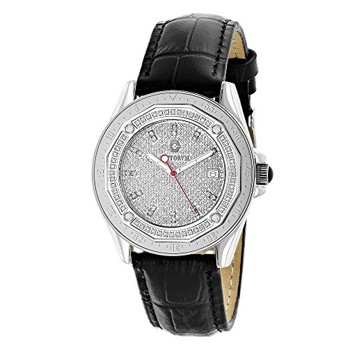Centorum Watches Iced Out Designer Diamond Watch 0 5ct w Black Leather Band