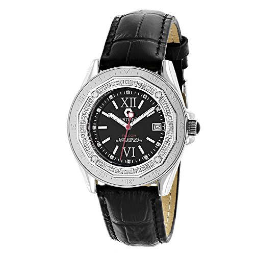 Centorum Watches Genuite Diamond Watch w Black Leather Band 0 5ct