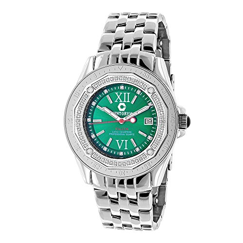 Designer Diamond Watch Midsize Centorum Falcon 0 50ct Emerald Face