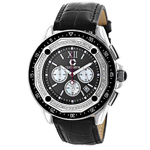 Diamond Watches For Men Centorum Falcon 0 55ct Chronograph Black Dial Leather Band