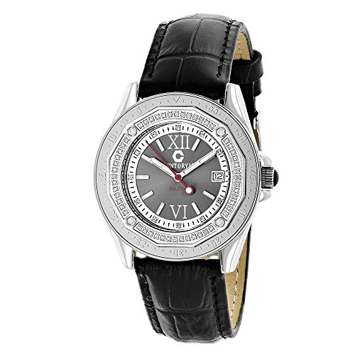 Genuine Diamond Watch by Centorum 0 5ct Black MOP and Leather Band