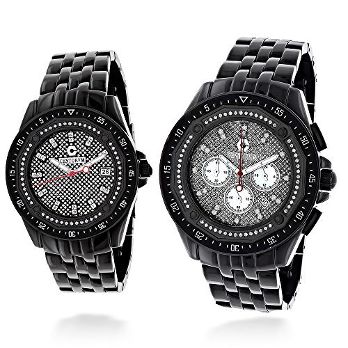 His and Hers Matching Watches Centorum Chronograph Diamond Watch Set 1 05ct Black