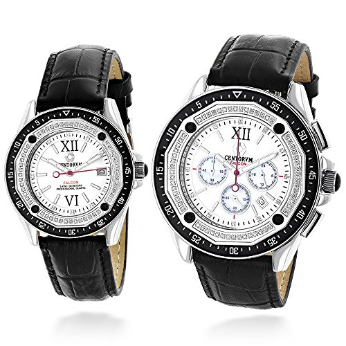 His and Hers matching watches Centorum Diamond Watch Set w Chronograph