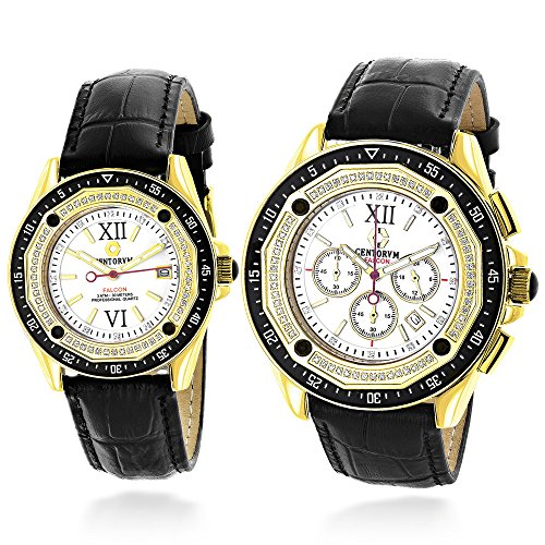 Matching His and Hers Watches Centorum Diamond Watch Set 1 05ct