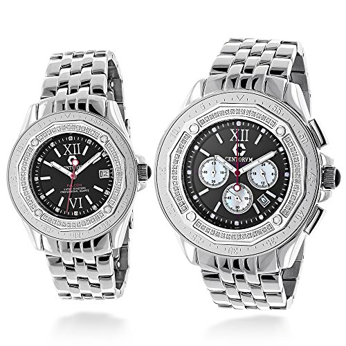 Matching His and Hers Watches Centorum Falcon Diamond Watch Set 1 05ct