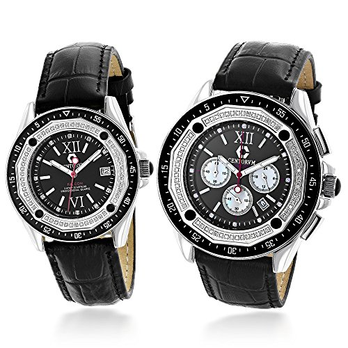 Matching His and Hers Watches Centorum Diamond Watch Set in Black 1 05ct