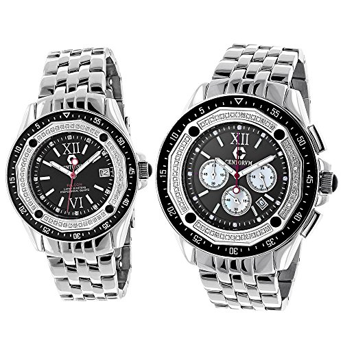 Matching His and Hers Watches Centorum Chronograph Diamond Watch Set 1 05ct Black