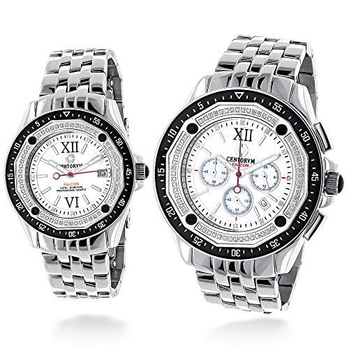 Matching His and Hers Watches Centorum Diamond Watch Set 1ct Chronograph