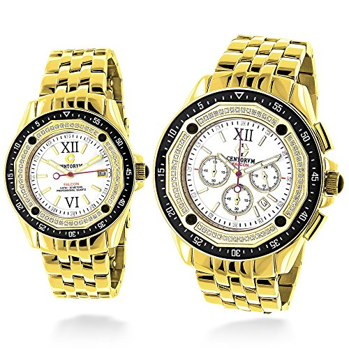 Matching His and Hers Watches Yellow Gold Plated Diamond Watch Set 1 05ct