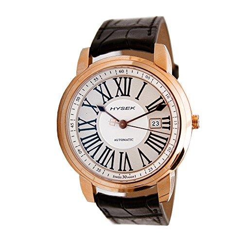 Hysek Io Herren 43mm Automatikwerk Schwarz Leder Armband Datum Uhr IO4301r02
